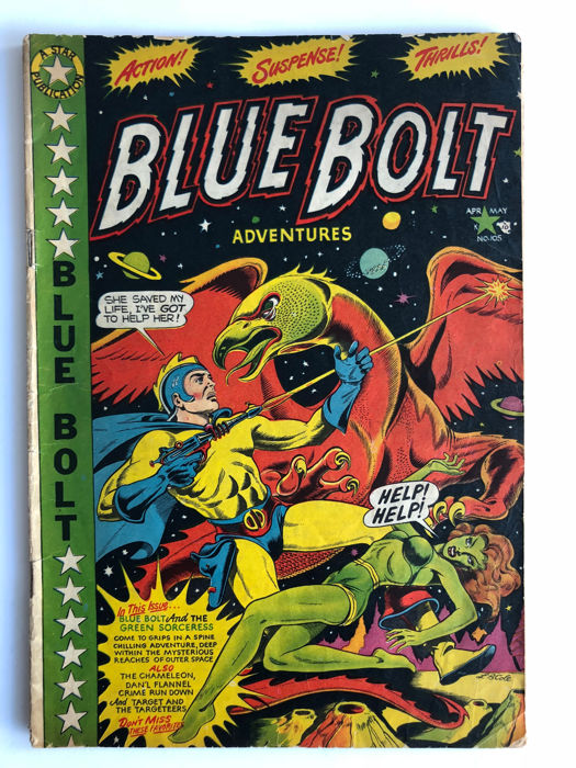 Star Publications - Blue Bolt #105 - Origin Blue Bolt - Chameleon & Target Appearance - Opium Den Story - LB Cole Cover!!! - 1x sc - (1950)