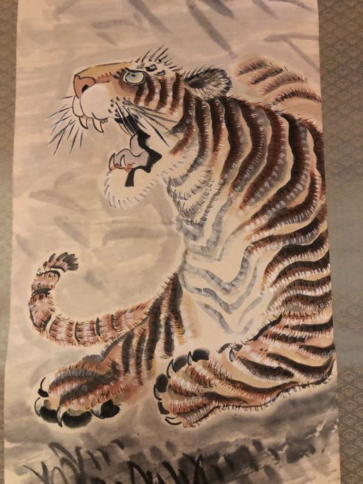 Scroll - Signed 'Soshin' - 'Ferocious tiger' Circa 1920-1930