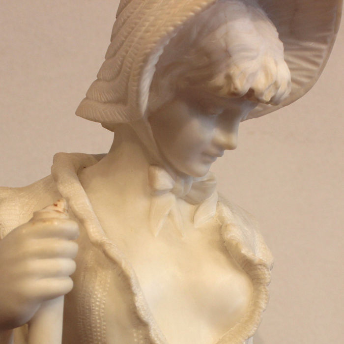 Pietro Bazzanti and Son - Large Alabaster Sculpture of a Fisher Girl - Florence, Italy - 19th c.