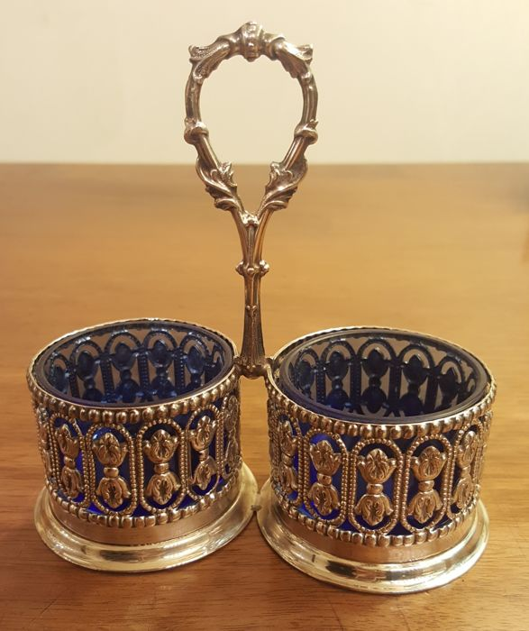 Silver salt and pepper bowls with handle - by Topazio, Portugal
