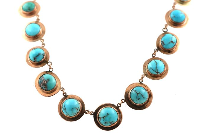 Very beautiful antique necklace in 585/14 kt red gold - with TURQUOISES - 45 cm