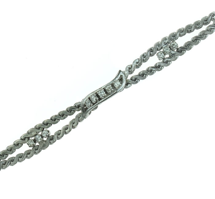 14 kt white gold braided link bracelet set with 11 diamonds - 19 cm