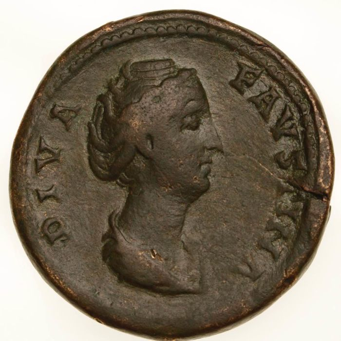 Roman Empire - Diva Faustina I. Died A.D. 140/1. Æ Sestertius. Rome mint, A.D. 141. Heavy and thick example