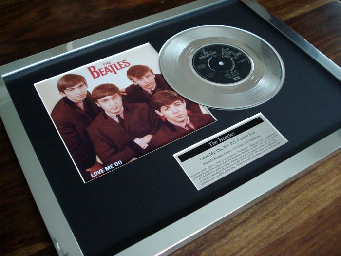 "The Beatles Love Me Do platinum plated 7"" record single disc"
