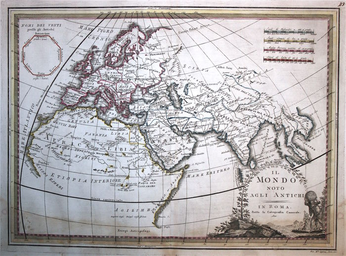 Ancient world map; G. M. Cassini - Il Mondo noto agli Antichi - 1800 ...