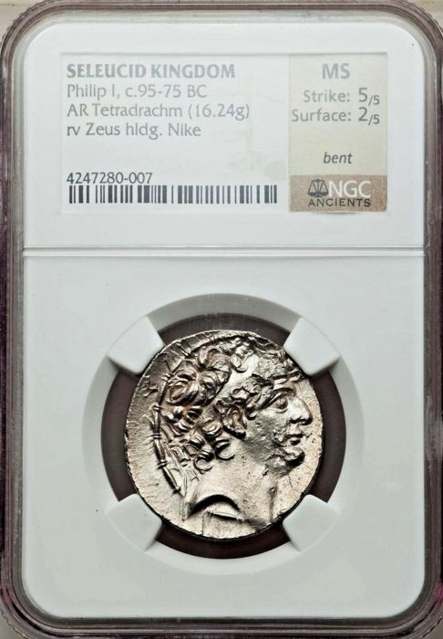 Greek Antiquity - Seleucid Kings. Philip I Philadelphus, Mint State Tetradrachm circa 88/7 BC BC, Outstanding Sharp Coin, Gorgeous Relief, Strong Bold Strike.