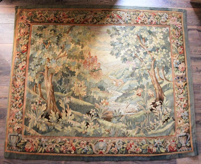 "Aubusson tapestry in polychrome wool, ""Verdure animée au chateau'' France, 19th century"