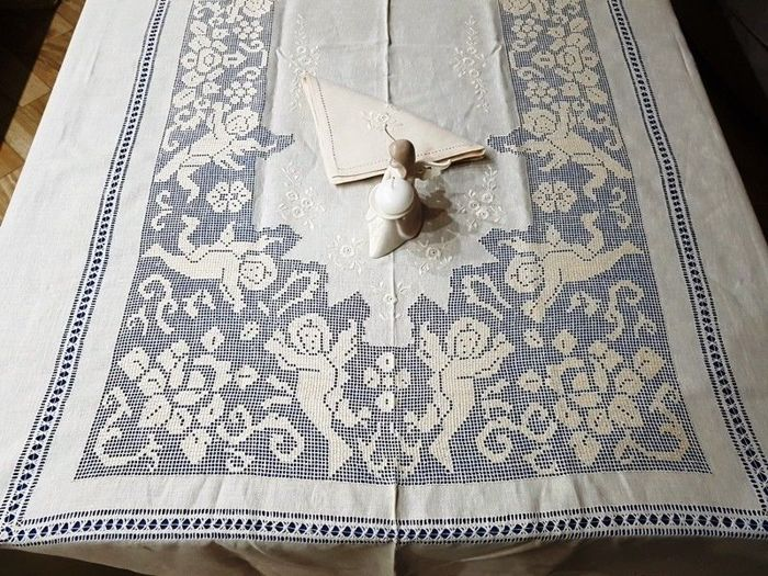 Embroidery Linen x12 tablecloth. Hand-pulled - Linen