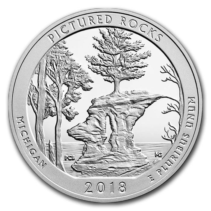 USA - US Mint - America The Beautiful - Pictured Rocks 2018 - large 5 oz 999 silver coin