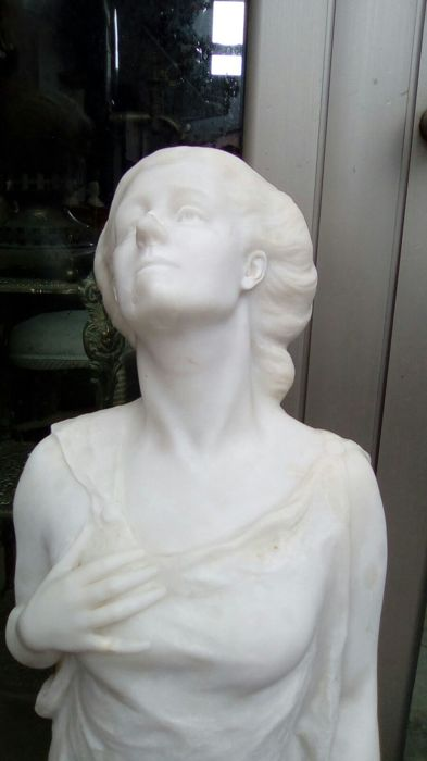 Large Sculpture of Muse Polyhymnia, Carrara Marble - Florence, Italy - early 1900s