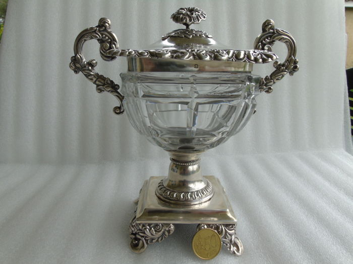 Beautiful, solid, sterling silver and cut crystal jam container - 19th century - silversmith Veyrat & Fils