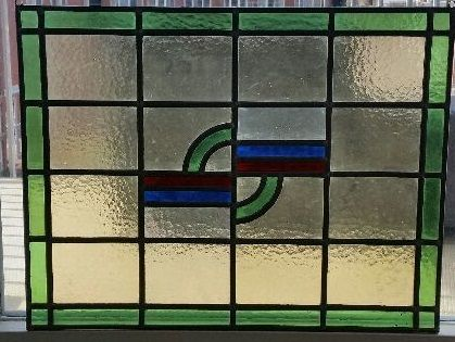 Stained glass sun-catcher in Art Deco style - 1920s - In the colours green, red and blue