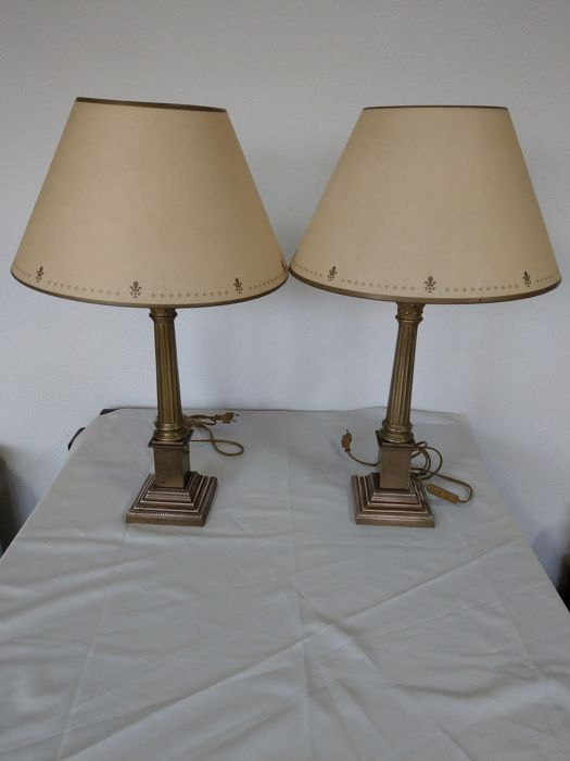 Catawiki Century 20th Pair Brass Lampsukamp; Table Ashleya Of Laura CoBdxWre