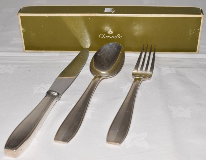 Christofle - cutlery section - spoon fork and knife - silver plated