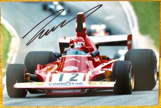 Niki Lauda signed Ferrari F1 photo 1975, first World Championship with Ferrari