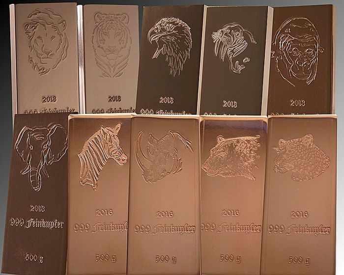 10 x 1/2 kg copper bars - Complete animal series, 10 x 500 g - Germany, 2013 + 2016 - 5 kg 999 fine copper bars + certificate