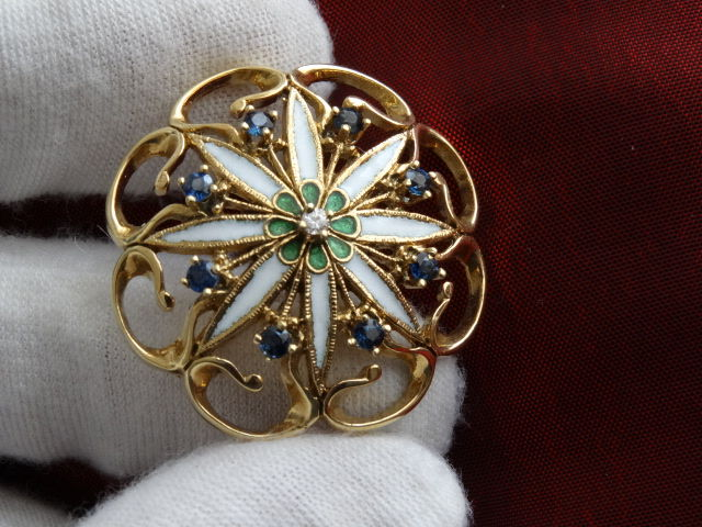 Gold Faberge Franklin Mint Heirloom Collection Diamond Sapphires Pin 10.6g
