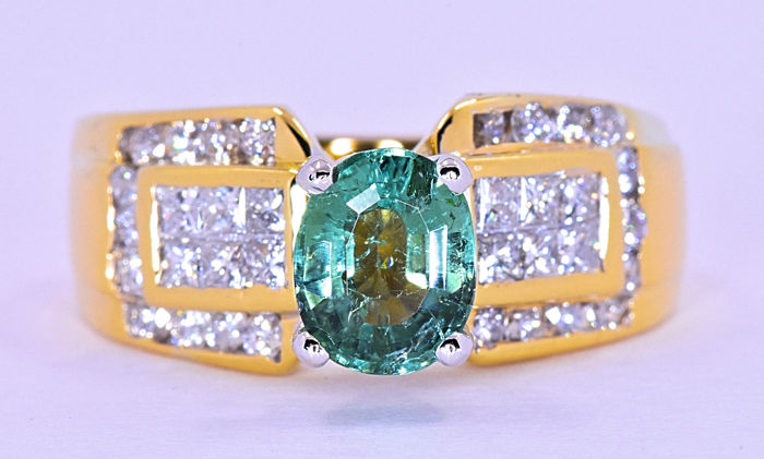 2.50 ct Tourmaline with Diamonds ring ***NO RESERVE price!***