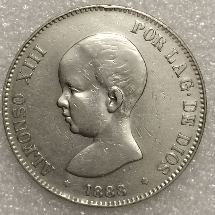 Spain – Alfonso XIII – 5 Pesetas – 1888 (88) MP-M – Silver