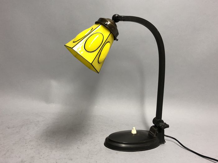 Bronze Adjustable Art Deco Table Lamp With Yellow Glass Shade