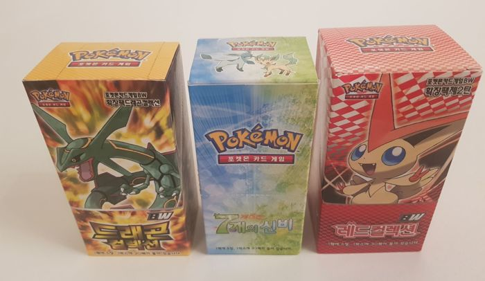 3 x Pokemon TCG Booster Boxes - Korean ( Dragon collection, Red Collection, Series 5 )