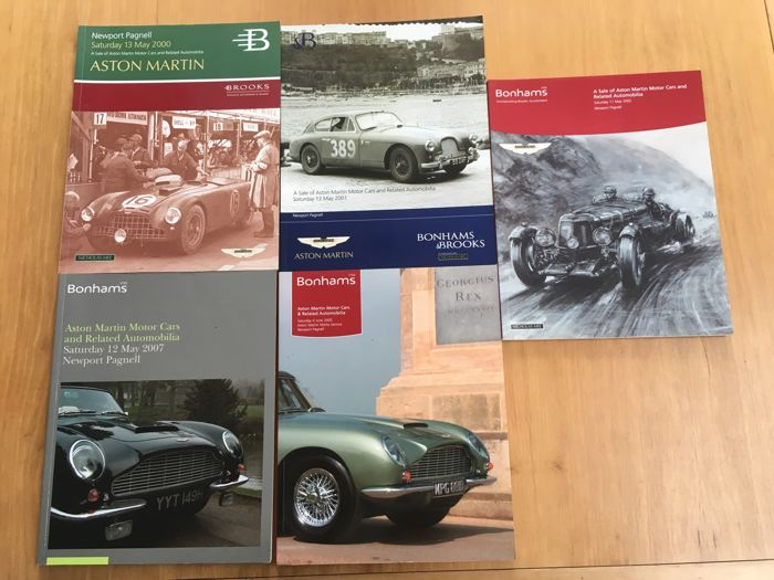 Aston Martin - Lot of 5 Bonham's Auction Catalogues - 2000, 2001, 2002, 2005, 2007