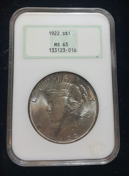 United States - Dollar (Peace) 1922 in Slab - silver