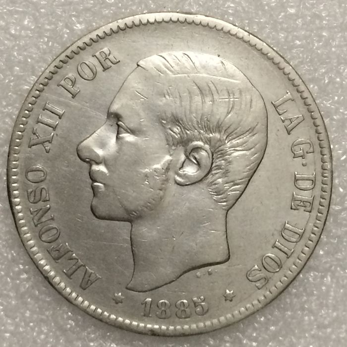 Spain – Alfonso XII – 5 Pesetas – 1885 (87) MS-M – Silver