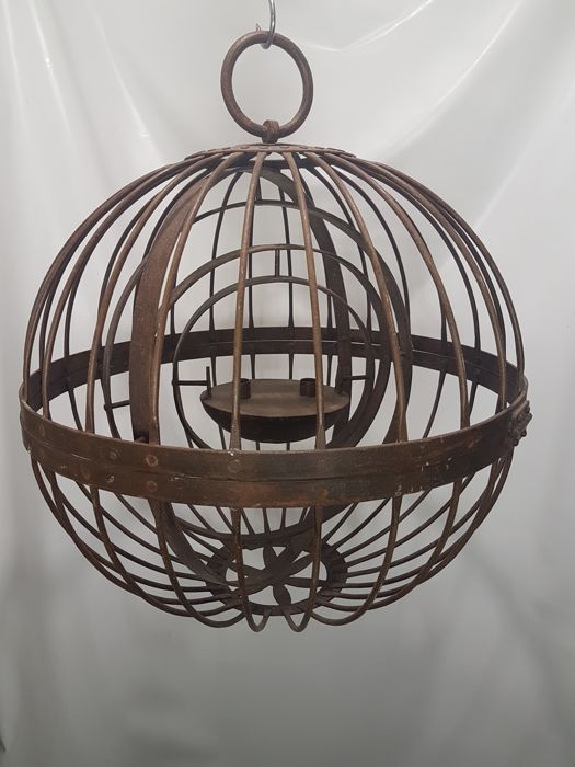 Nautical hanging lantern, ball-shaped, in wrought iron