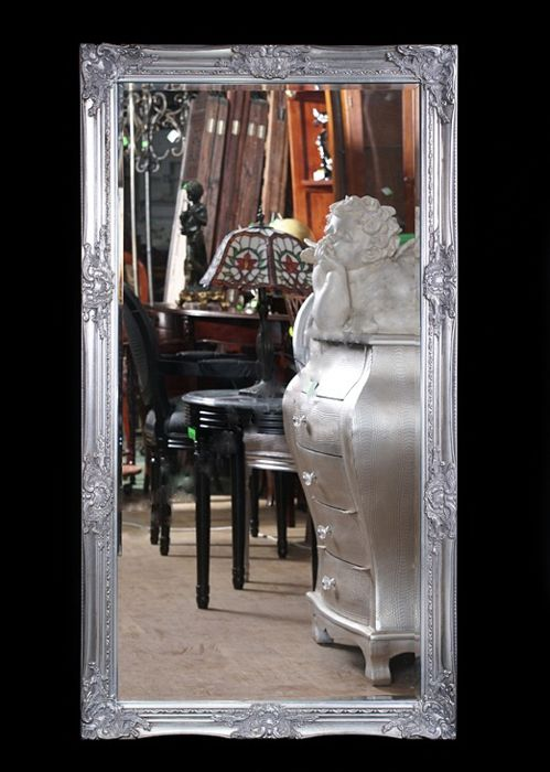 Very large, decorated mirror in a hand-made, wooden frame - 132 x 72 cm