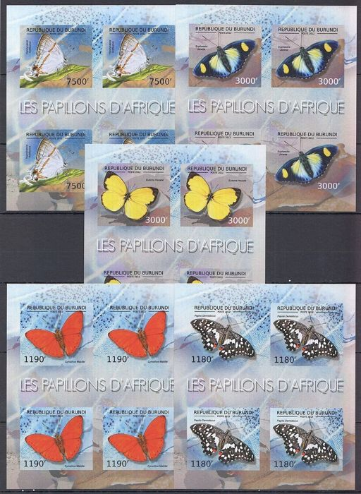 Burundi 2012 – Collection of fauna and nature imperforated minisheets.