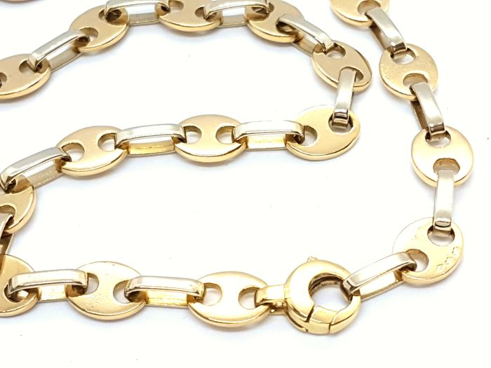 Necklace - Coffee beans - 18 kt white and yellow gold - Solid - 50 cm