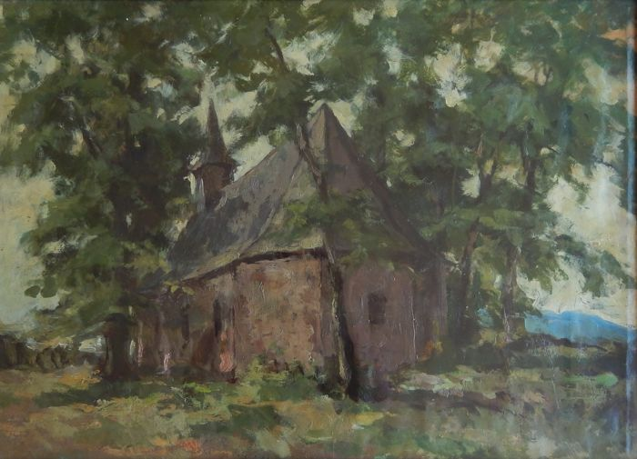 Unknown artist (European school) - Small Romanesque church between the trees