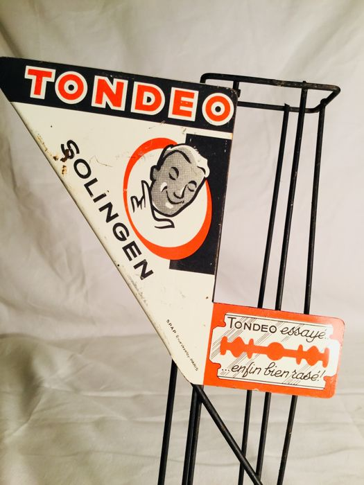 "Old metal shop distribution rack with metal advertising panel for razors ""TONDEO SOLINGEN"" __ Ca. 1960 France"