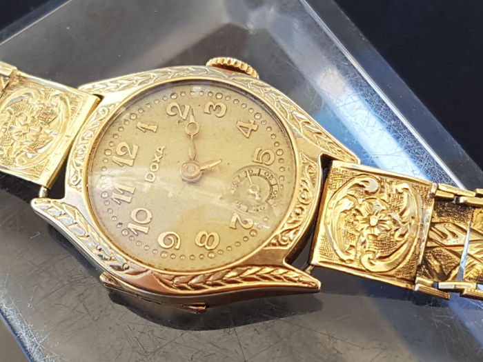 Doxa - Art deco - fully engraved - solid gold 14K - Dames - 1901-1949