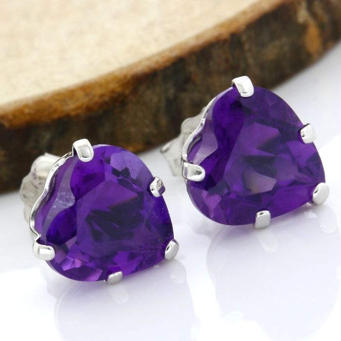 No Reserve Price - 14k White Gold Stud Earrings Set with 7.50 ct Heart Shape Amethyst