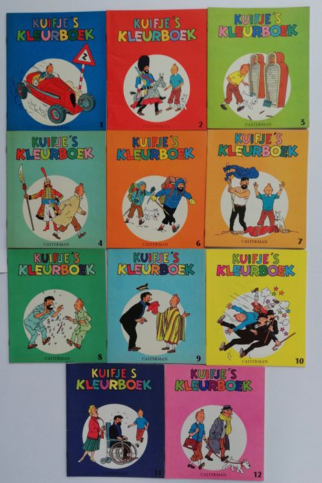 Kuifje - 11x Kuifje's Kleurboek - T1 à T4 + T6 à T12 - Softcover - First edition - (1961/1971)