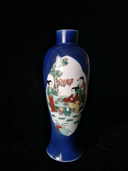 Blue powder porcelain vase decorated with figures in reserves - China - late 19th century