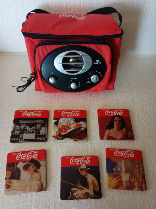 Coca Cola Radio with fridge and 6 coasters