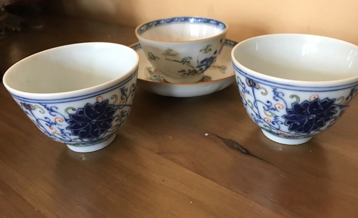 A Set of  Porcelain Tea Bowl & Saucer Dish And A Pair Of Doucai Tea Cups - China - 18th and 19th C