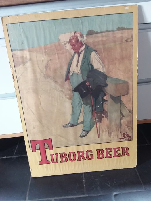 Old wooden advertising sign Tuborg beer - 1985