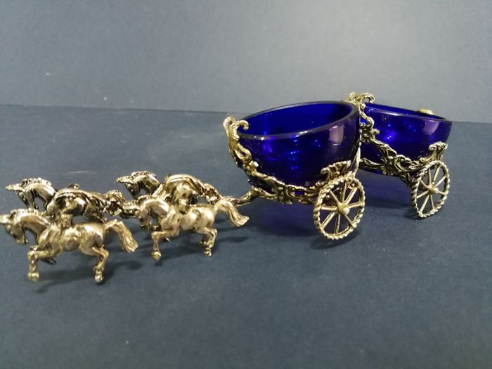 Condiments set with silver plated horses and blue glass inserts