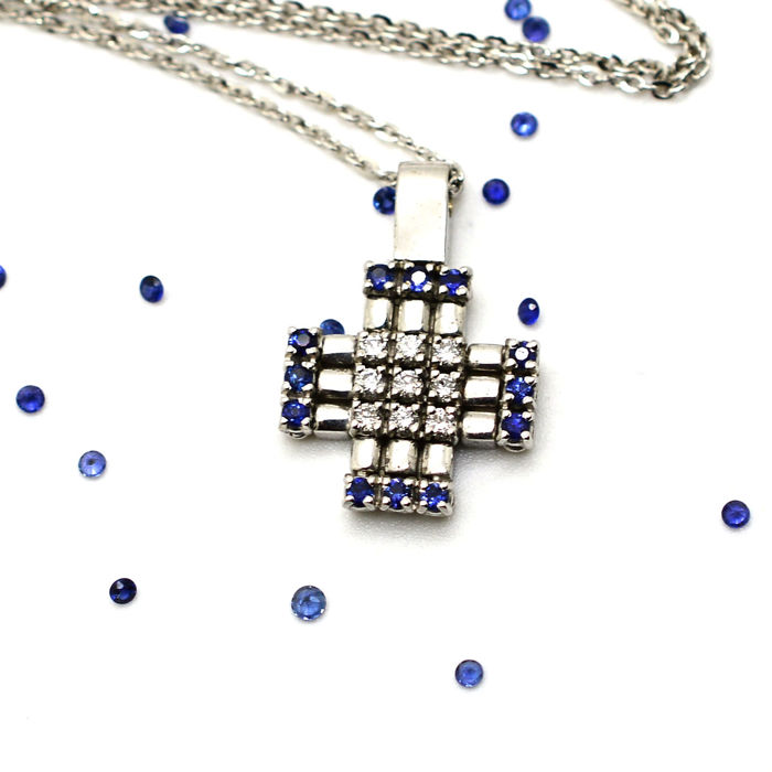 White-Gold Necklace and Cross with Diamonds and Sapphires