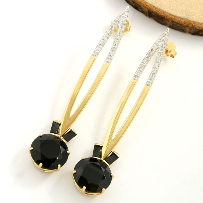 No Reserve Price - 14k Yellow Gold Earrings Set with 18.50 ct Round/Baguette Cut Black Onyx and 0.15 ct Round/Single Cut H-I, SI1-SI2 Diamond