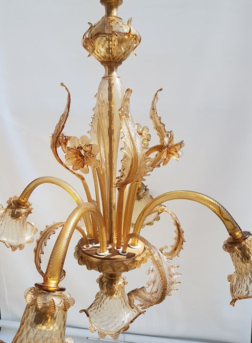 Murano (not attributed) - 5-light floral chandelier in amber glass