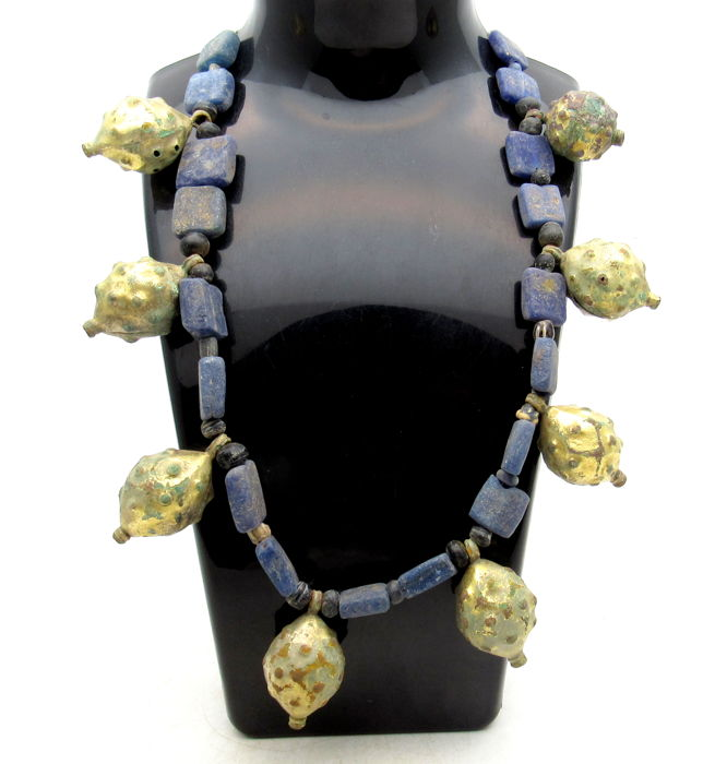Necklace with Medieval Viking Era Glass Beads & Gold-Gilded Mace-Head Shaped Pendants - 450 mm