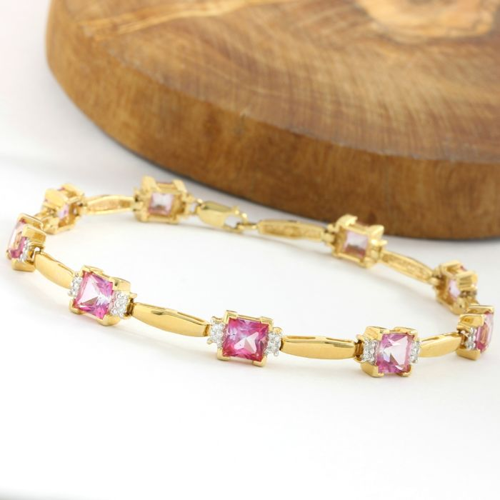 14k Yellow Gold - 16.50 ct Princess Cut Pink Topaz and 0.25 ct Single Cut H-I, SI1-SI2 Diamond Bracelet - 19 cm
