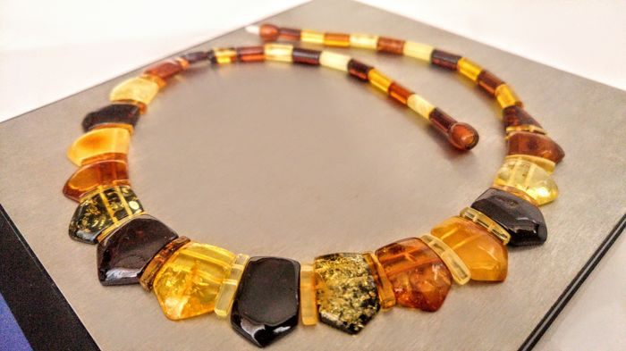Mix colour Genuine Baltic Amber necklace, length 47 cm