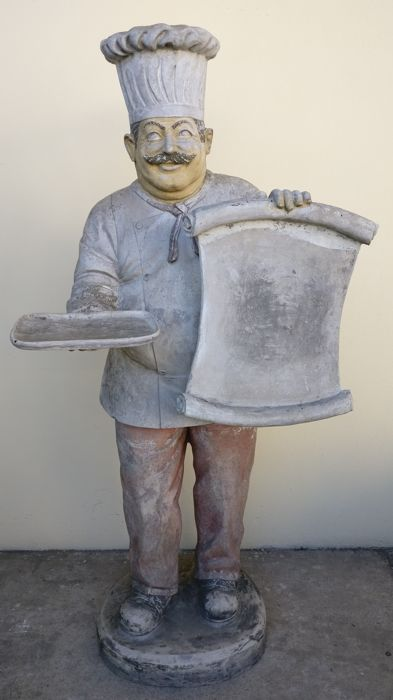 Statue of cook with tray and sign in fiberglass - Italy - 1950s/60s