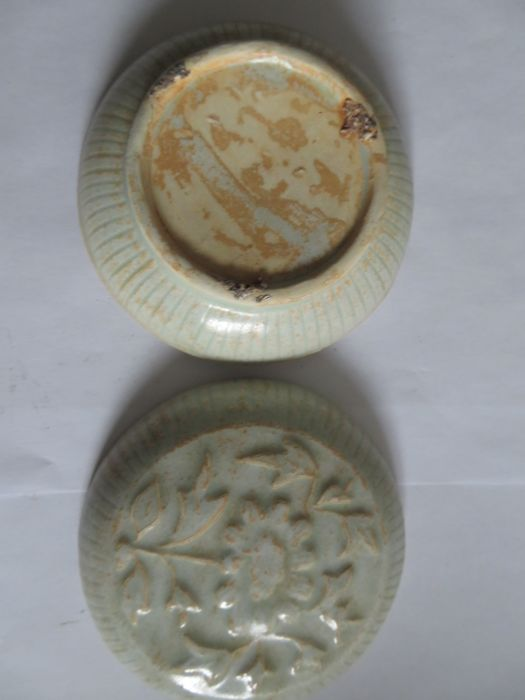 AChinese Qingbai glazed celadon cosmetic/medicine box with moulded flower decoration- 102 X 45 mm